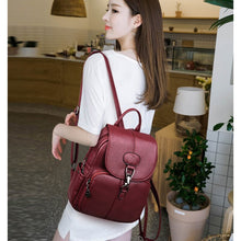 Load image into Gallery viewer, Multifunction Women Leather Backpack