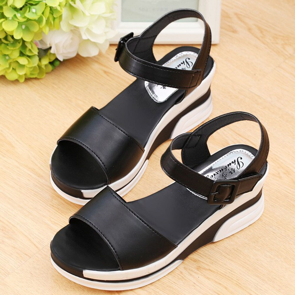 Women Cover Heel Classic Flat Casual Solid Fashion Sandals