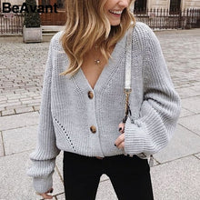 Load image into Gallery viewer, Sexy V-neck Knitted Women Cardigan