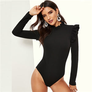 Black Stand Collar Frill Detail Slim Fitted Skinny Plain Bodysuit