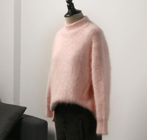 O-neck hairy sweet pink white sweater pullovers