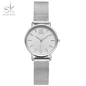 SK Super Slim Sliver Mesh Stainless Steel Watches