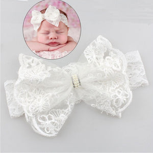 Withe Lace Crystal Bow Flower Baby Headbands