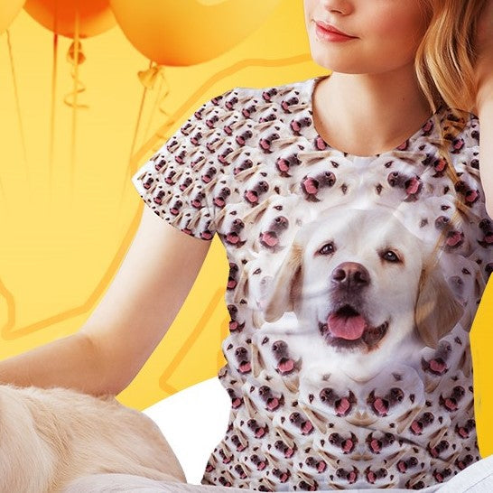 Custom Funny Face T-shirt All Over Print Tee With You Pet