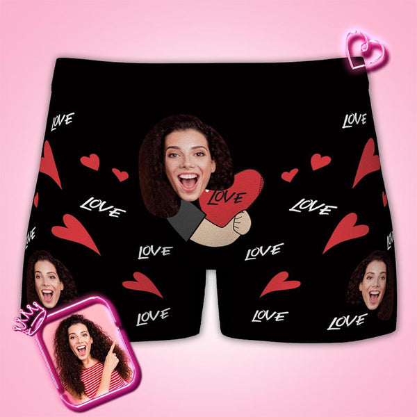 Custom Womens Valentines Day Love Heart Boxer Briefs Personalized Gifts For Boyfriend