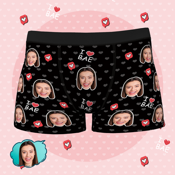 Custom Face Boxer Shorts - I LOVE BAE