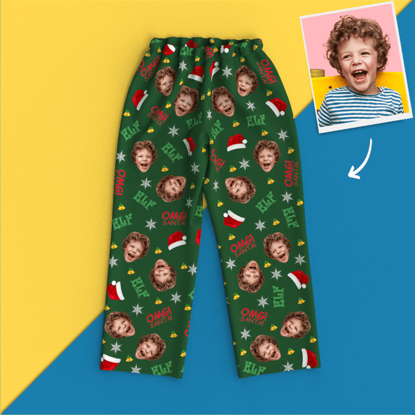 Custom Face Photo Christmas Elf Pajamas Omg Santa