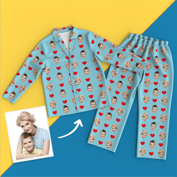 Custom Face Red Heart Pajamas