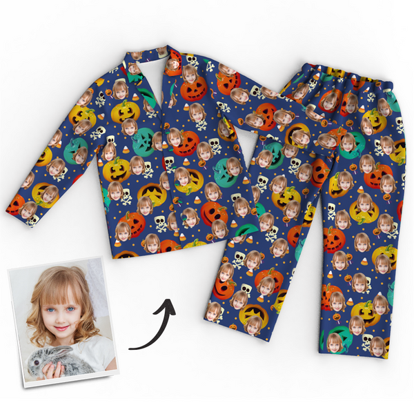 Custom Face Photo Pumpkin Skeleton Pajamas Halloween For Children