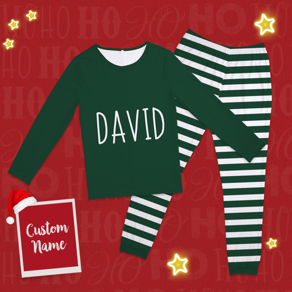 Custom Text Pajamas Classic Red And Green Set