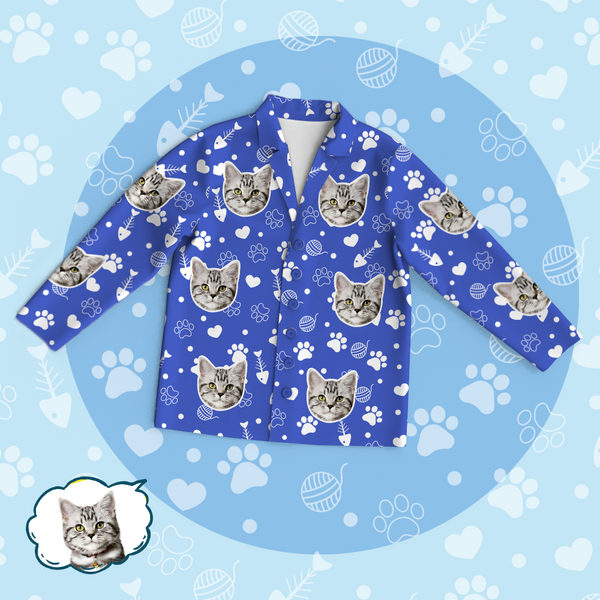 Personalized Pet Photo Pajama Tops/Pants - Lovely Cat Face