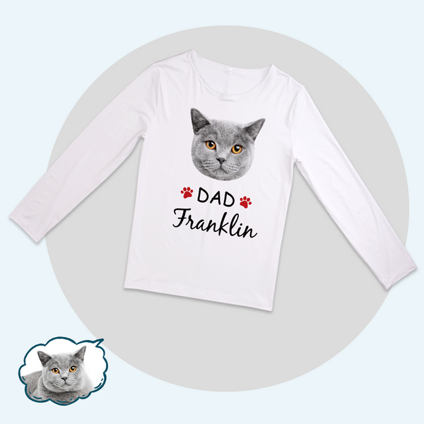 Custom Family Pajama Tops Add Photo And Name - Cat Face