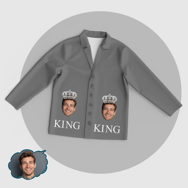 Personalized Men's King Pajama Tops/Pants Add Your Photo