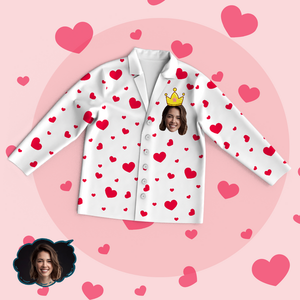 Custom Face Heart Pajama Tops Love My Mom Personalized Mothers Day Gifts