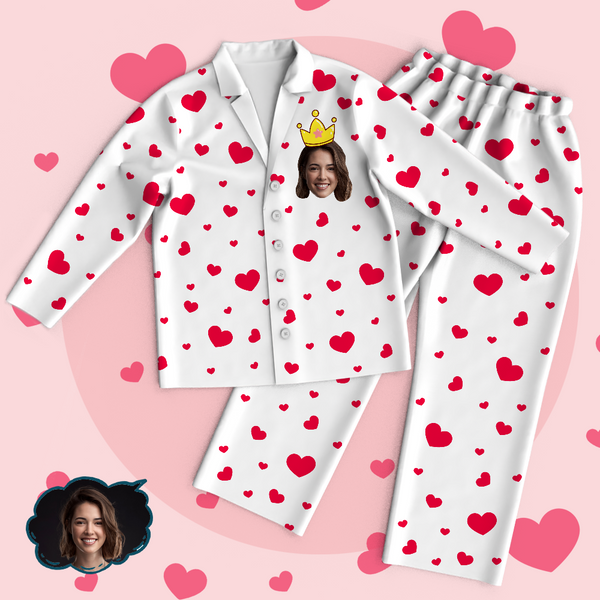 Custom Face Heart Pajamas Set Love My Mom Personalized Mothers Day Gifts