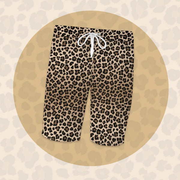 Custom Women's Bisic Short Sleeve Pajama Pants With Animal Leopard Elements