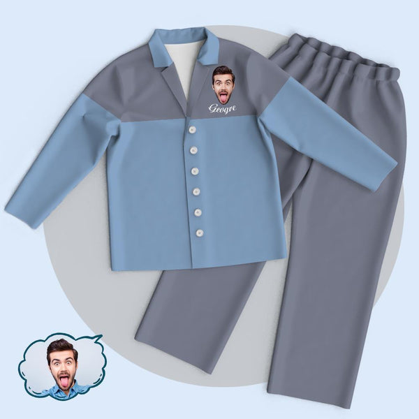 Custom Blue-Grey Colorblock Unisex Cardigan Pajamas Suit Add Your Photo And Name
