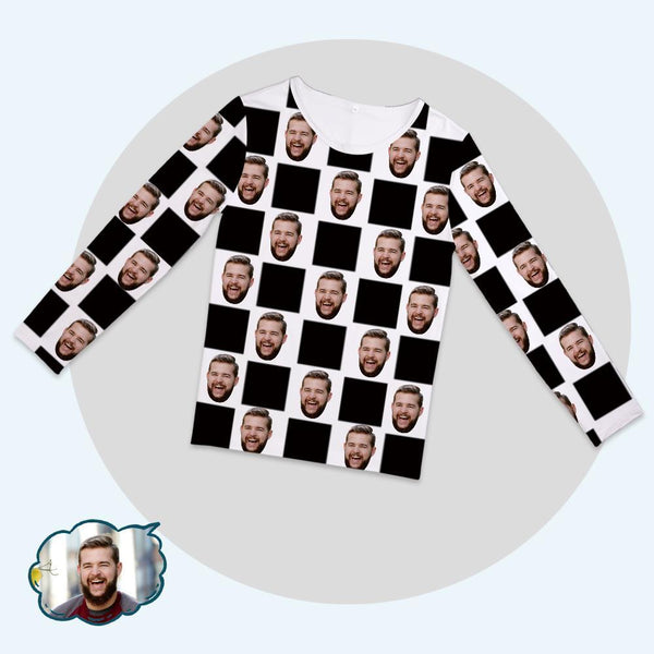Custom Face Family Pajama Tops With Chess Board