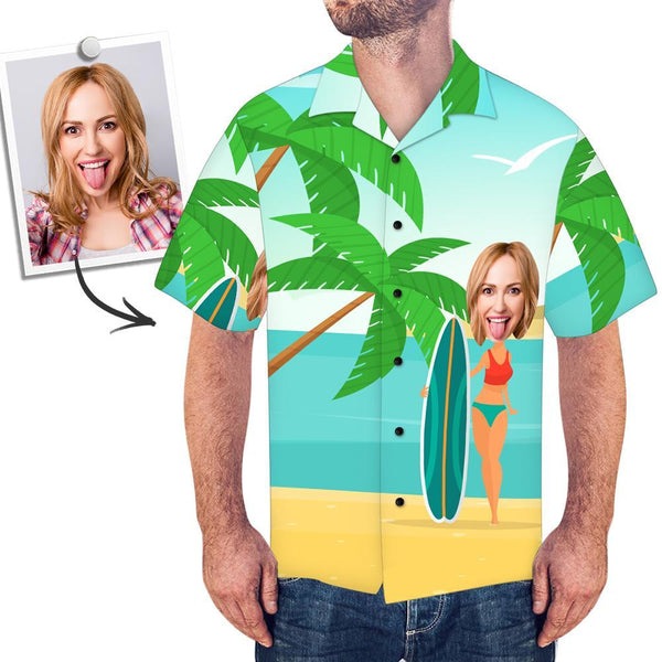 Custom Face Men's  Hawaiian Shirt Vacation Surfing - customfacepajamas