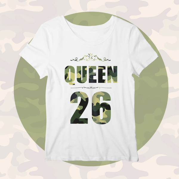 Custom Lucky Number Personalized Family Matching Shirt Women's Cotton The Queen T-shirt