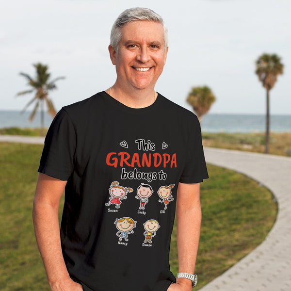 Personalized Name Cartoon T-Shirt Black Personalized Shirt Best Gift For Grandpa