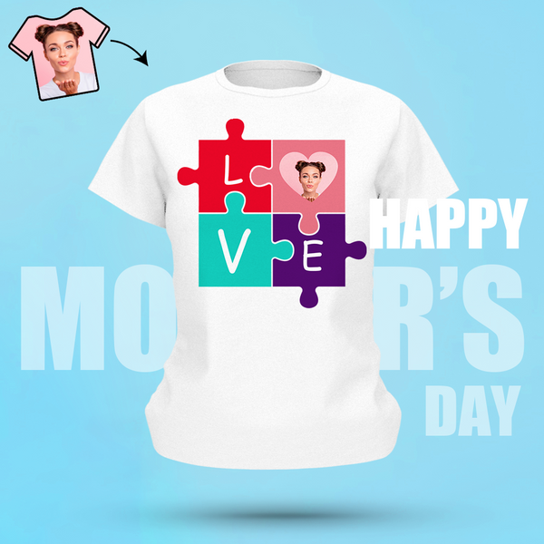 Custom Face Shirt In My Heart Puzzle T-shirt Gifts For Mother Women's Cotton T-shirt