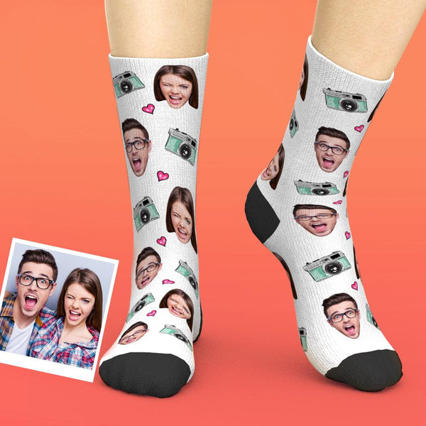 Custom Face Camera Valentines Memory Socks