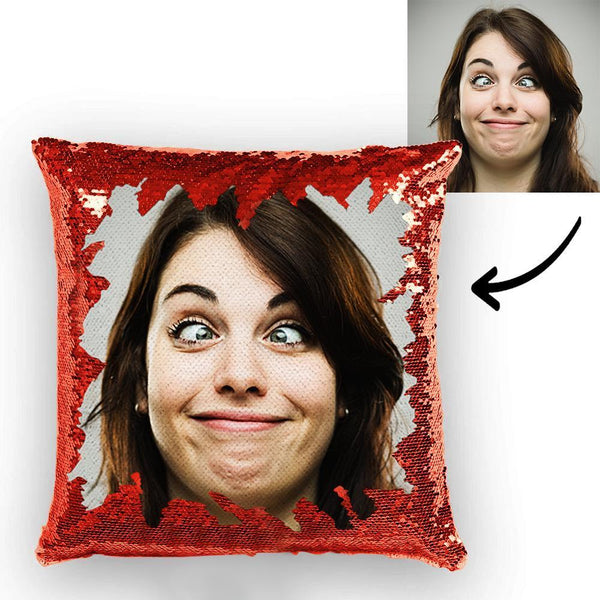 Custom Funny Woman Photo Reversible Magic Sequin Cushion Pillow 15.75inch*15.75inch