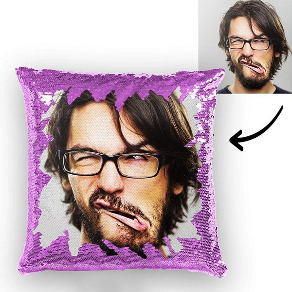 Custom Funny Man Photo Magic Sequins Pillow Multicolor Sequin Cushion 15.75inch*15.75inch