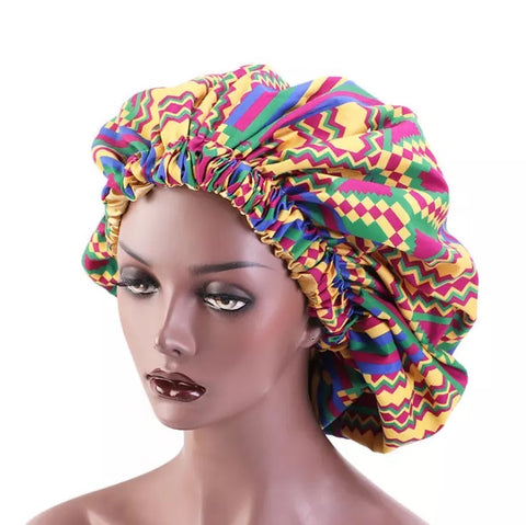 Geometric Pink/Gold Satin Hair Bonnet