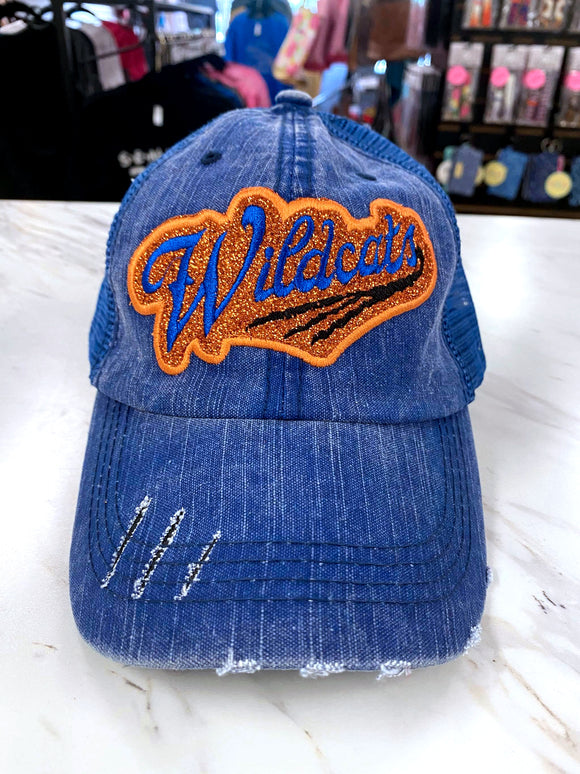 Wildcats Distressed Glitter Hat in Blue TM47