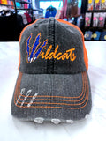 Wildcats Clawed Distressed Glitter Hat TM48