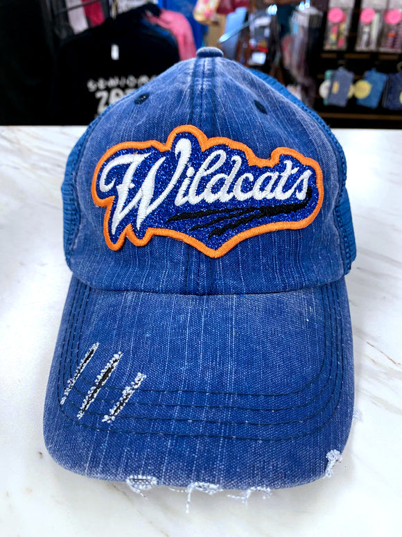 Wildcats Distressed Glitter Hat in Blue TM50