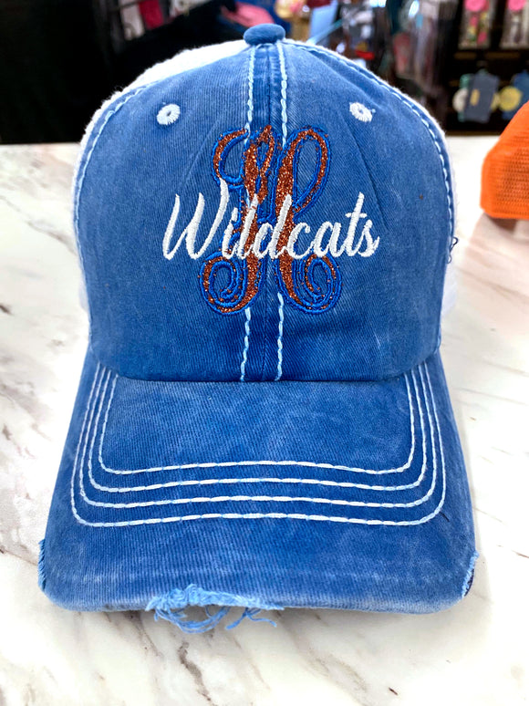 H Wildcats Distressed Glitter Hat TM51