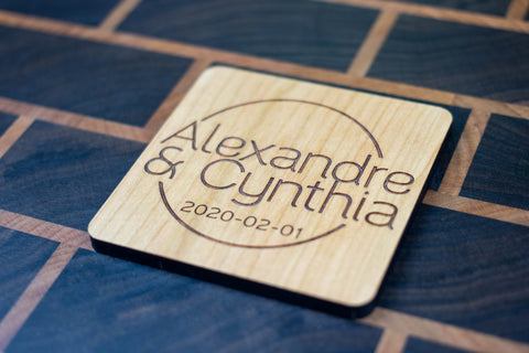 Personalized Wooden Coasters - Wedding - Modern 01
