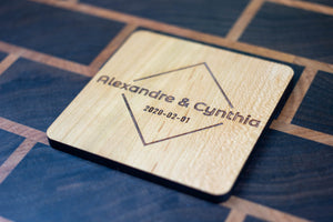 Personalized Wooden Coasters - Wedding - Modern 03