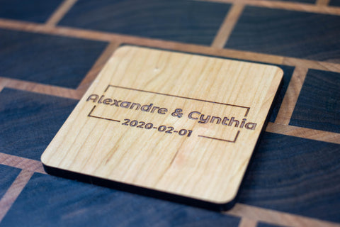 Personalized Wooden Coasters - Wedding - Modern 04