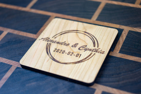 Personalized Wooden Coasters - Wedding - Modern 05