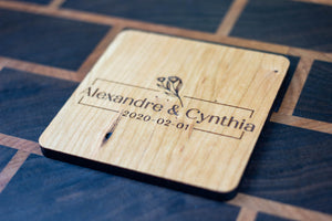Personalized Wooden Coasters - Wedding - Traditional 04