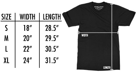 Sleep Terror Clothing Size Chart