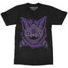 Sleep Terror Clothing Batsby Bat T-shirt | Goth style unisex cotton t-shirt with purple bat with huge teeth design
