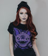 Sleep Terror Clothing Batsby Bat T-shirt | Goth style t-shirt for women with purple bat with huge teeth design