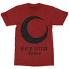 Sleep Terror Clothing Blood Moon T-shirt | Occult unisex t-shirt with a black crescent moon print and gothic logo on red cotton t-shirt