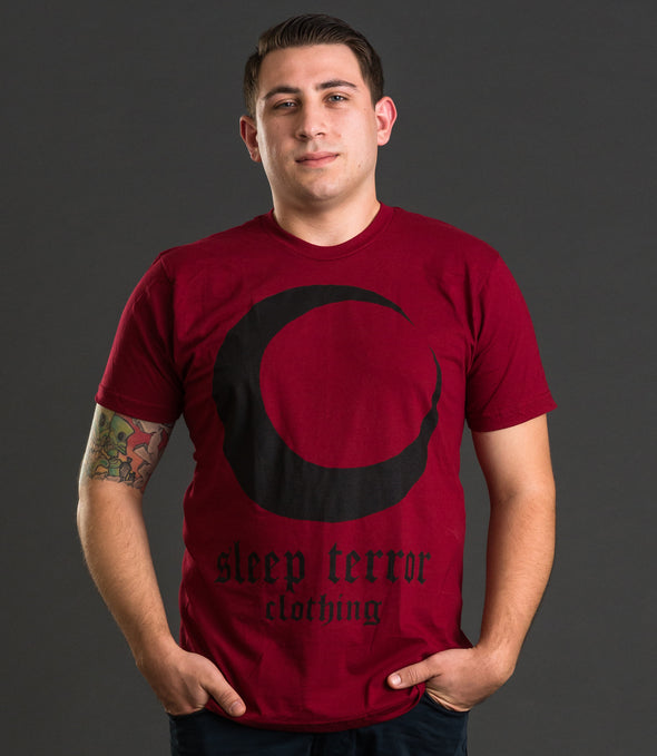 Sleep Terror Clothing Blood Moon T-shirt | Occult t-shirt for men with a black crescent moon print and gothic logo on red cotton t-shirt