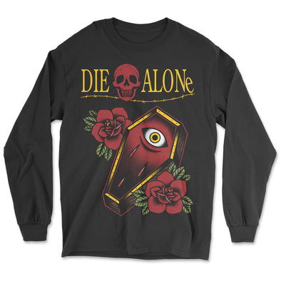 Die Alone Tattoo Long Sleeve. Coffin tattoo design with traditional roses.