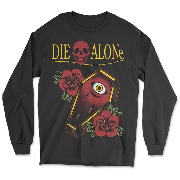 Coffin Tattoo long sleeve - die alone home alone parody tshirt