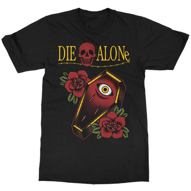 Die Alone Tattoo T-shirt. Coffin tattoo t-shirt