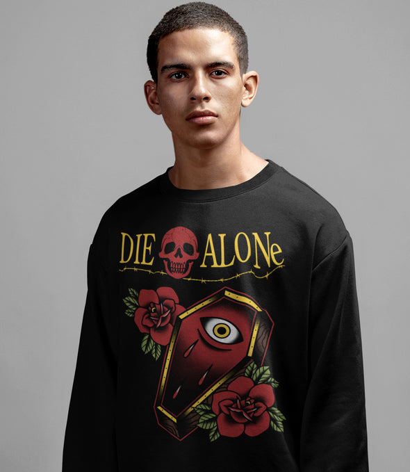 Die Alone Tattoo Long Sleeve. coffin tattoo design with traditional roses for men