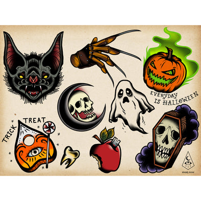 Every Day Is Halloween horror tattoo flash sheet