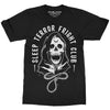 Sleep Terror Clothing Fright Club T-shirt | Black occult unisex t-shirt featuring a cloaked skull figure, the grim reaper, with a hangman's noose